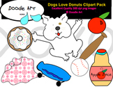 Dogs Love Donuts Clipart Pack
