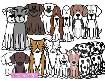 Dogs Set 2 Clipart- Black Line and Color COMBO