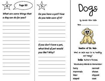 Dogs Trifold - Journeys 2nd Grade Unit 1 Week 3 (2014, 2017 Common Core)