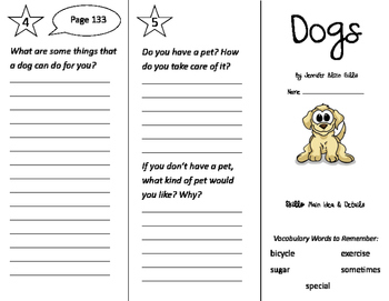 Dogs Trifold - Storytown 2nd Grade Unit 1 Week 4