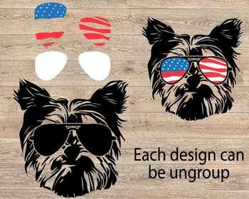 Dogs USA Flag Glasses Paw SVG German shepherd Yorkshire Terrier Bulldog pug 856S