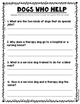 {Service Dogs} Informational Reading & Text Dependent Questions
