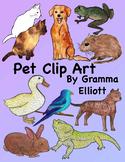 Pet Clip Art - Realistic Dogs cat iguana gerbil guinea pigs goat fish birds