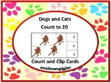 Dogs and Cats Count to 20 Count and Clip Task Cards Math Centers Early Finishers