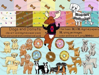 Dogs and Donuts - Clip Art and Digital Paper Super Bundle