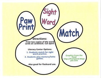Dogs and Paws Sight Word Literacy Center