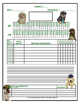 Dogs in Outfits Themed Piano Lessons Assignment Sheet