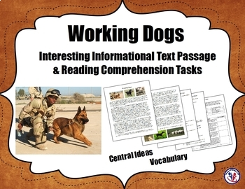 Assistance/Police/Working Dogs BUNDLE: Informational Text Passages & Tasks