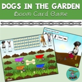Dogs in the Garden: Boom card game, speech therapy, spring, teletherapy