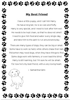 Dogs poem and inference worksheet