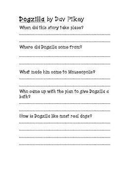 Dogzilla Comprehension Questions (Short Answer with Rubric)