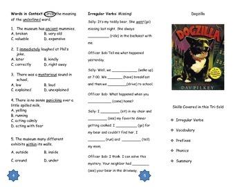 Dogzilla Comprehension Tri-fold: Journeys Grade 3; Lesson 19