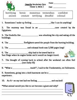 Dogzilla Fill in the Blank Vocabulary