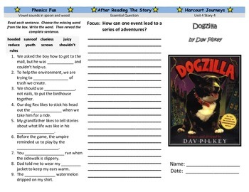 Dogzilla Trifold - Harcourt Journeys: Grade 3, Unit 4, Lesson 4