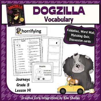 Dogzilla Vocabulary Foldables Word Wall and Quiz