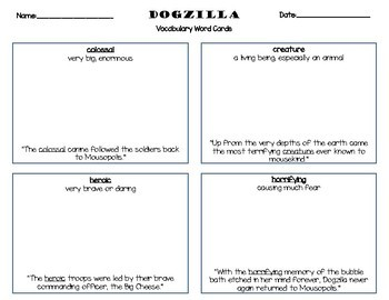 Dogzilla Vocabulary Word Cards