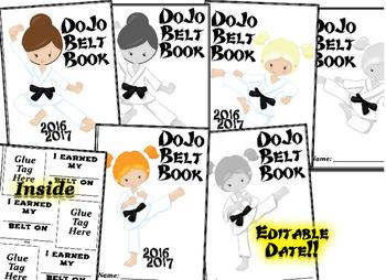 Dojo Belt Brag Tag Book!! Brag Tag book with editable date!