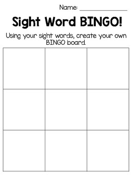 Sight Word BINGO Boards