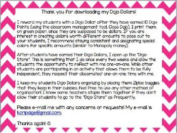 Dojo Dollars - Editable