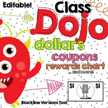ClassDojo Dollars and Classroom Coupons - Editable