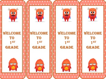 Dojo Monster Welcome to 1st Grade Bookmarks