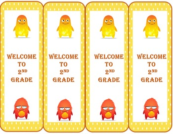 Monster Welcome to 2nd Grade Bookmarks