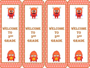 Monster Welcome to 3rd Grade Bookmarks