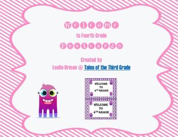 Dojo Monster Welcome to Fourth Grade postcards