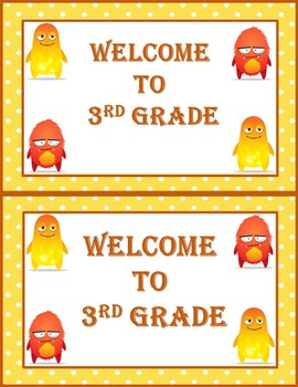 Dojo Monsters Welcome to Third Grade Postcards