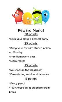 Dojo Reward Menu