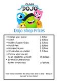 Dojo Shop Price List