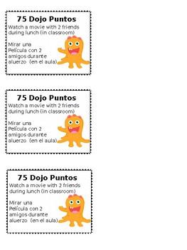 Dojo Store Reward Coupons (Bilingual: Spanish)