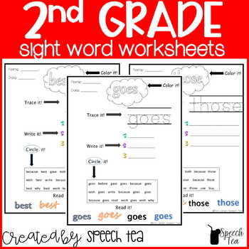 Dolch 2nd Grade Sight Word Worksheets