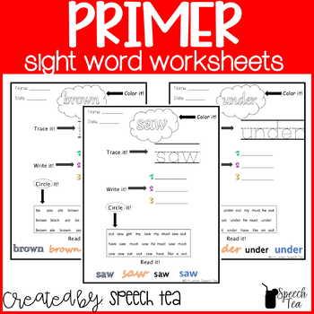 Dolce Primer Sight Word Worksheets