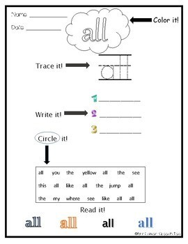 Dolch Primer Sight Word Worksheets