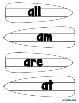 Dolce Primer Surf Board Sight Word Cards *EDITABLE*
