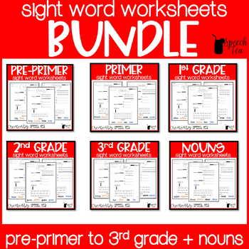#discountedbundles Dolch Sight Word Bundle! Pre-primer - 3rd grade + Nouns!