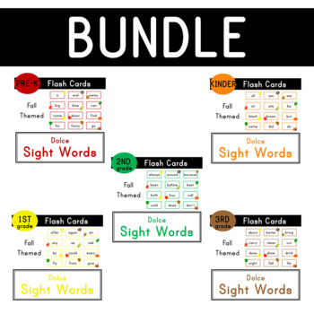 Dolce Sight Words - 220 Fall Themed Flash Cards - Bundle