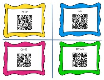 Dolce Sight Words QR Code Cards-Pre-Primer