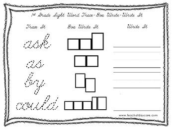 Dolch 1st Grade Cursive Trace, Box Write, Write worksheets. PreK-2nd Grade.