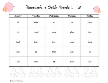 Dolch 1st Grade Homework Pages