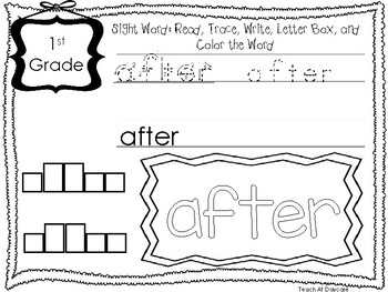 Dolch 1st Grade Read, Trace, Write, Box Write, Color Worksheets. Sight Words.