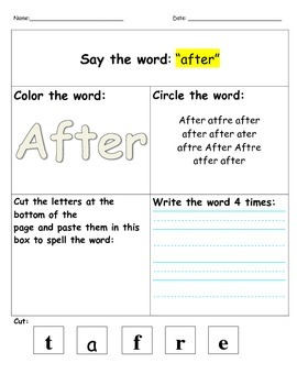 Dolch 1st Grade Word Work- Say it, color it, find it, cut it, write it