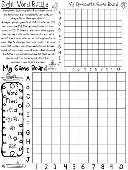 Dolch 1st Grade Sight Word Battle. Kindergarten-1st Grade Sight Word Activity.