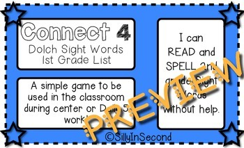 Dolch 1st Grade Sight Words - Connect 4