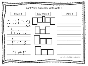 Dolch 1st Grade Trace, Box Write, Write worksheets.  Preschool-1st grade