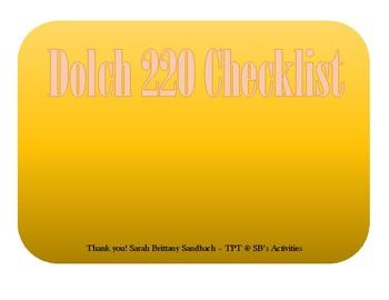 Dolch 220 Checklist
