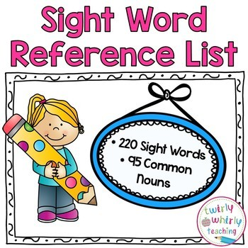 Sight Word and Common Nouns Lists