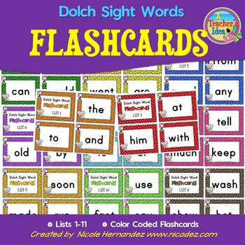 Dolch 220 Sight Word Flash Cards on Keyring Cards - Mouse Themed