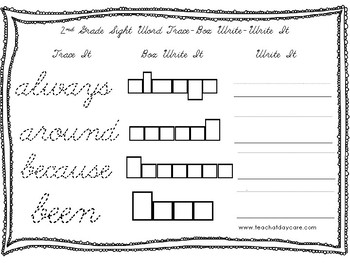 Dolch 2nd Grade Cursive Trace, Box Write, Write worksheets. PreK-2nd Grade.